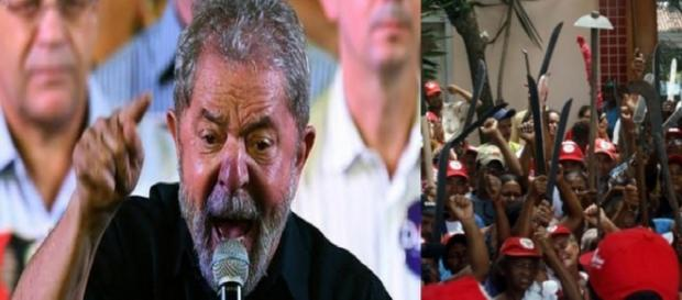 Lula e manifestantes - Foto/Montagem