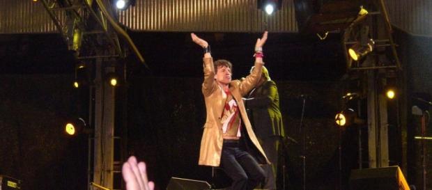 Mick Jagger vocalista de la banda inglesa.