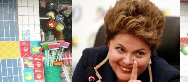 Dilma faliu loja de bugigangas - Foto/Montagem