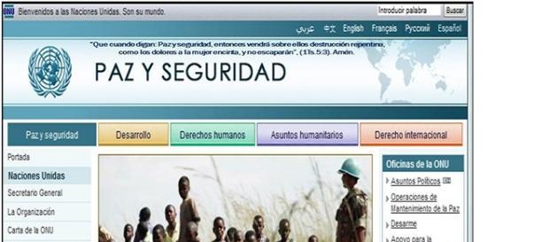 Portal de la web de la ONU anuncia la paz y seguridad
