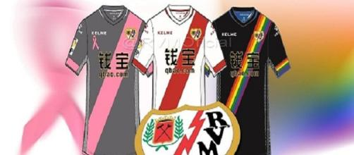 Os uniformes do Rayo Vallecano na atual temporada.