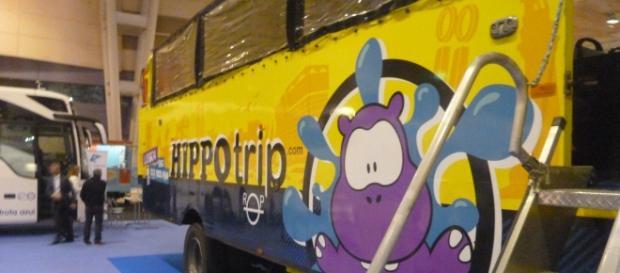 O autocarro híbrido usado para uma visita a Lisboa