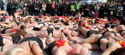Protesta antitaurina en la Puerta del Sol de Madrid. Foto: GARDEU