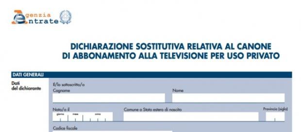 Il modello di autodichiarazione del canone tv.