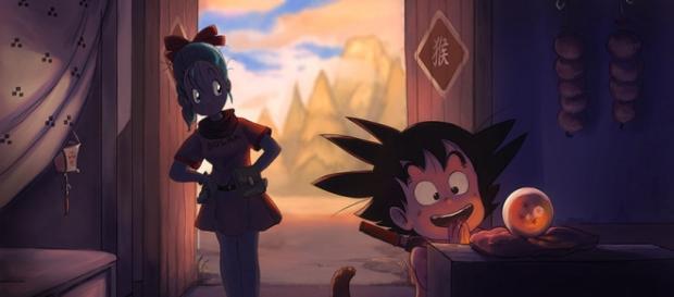 Gokú y Bulma con la esfera del dragón
