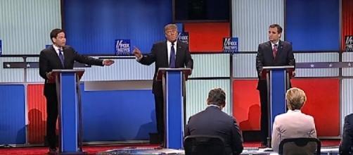 Republican debate stage, via YouTube
