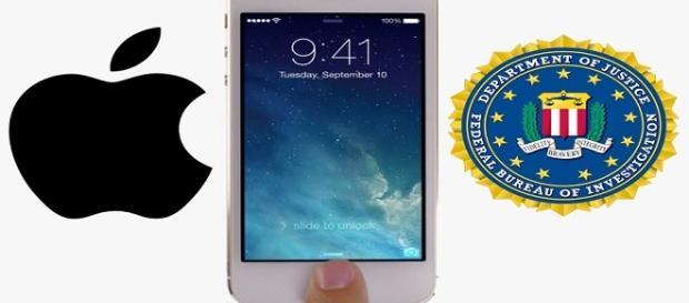 Fotografía de un Iphone, Logo Apple y Logo FBI