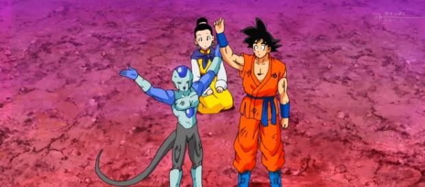 Frost celebra a Goku luego de la derrota