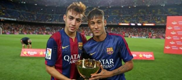 Munir y Neymar celebrando el Gamper