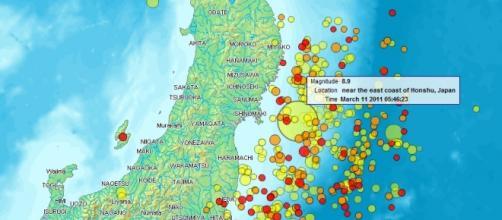 Mapa de la isla de Japón y los seísmos