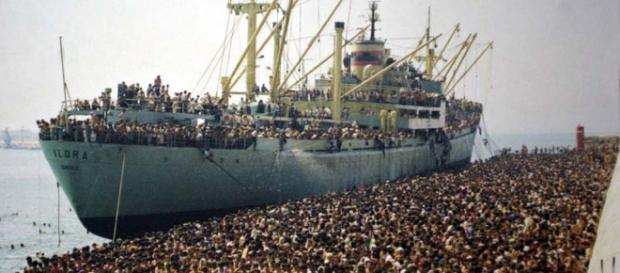 I profughi albanesi che arrivarono a Bari nel '91