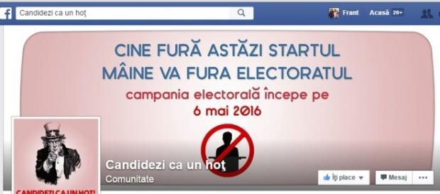 Pagina candidezi ca un hoț facebook.com