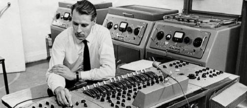 George Martin hard at work in the record studio
