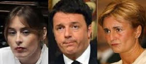 Matteo Renzi con Federica Guidi e il ministro Boschi