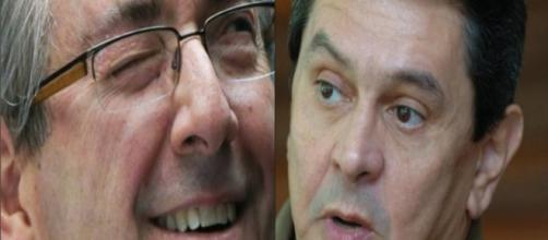 Roberto Jefferson (d) e seu alter ego Eduardo Cunha