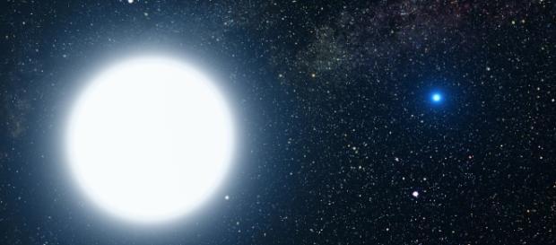Interpretación artística de una enana blanca dentro de un sistema estelar binario.