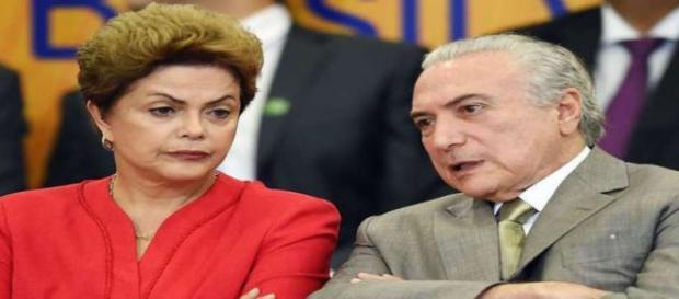 A presidente Dilma Rousseff (PT) e o vice-presidente, Michel Temer (PMDB)
