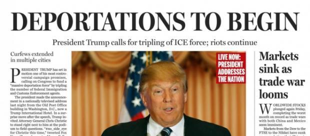 La portada falsa retrata un panorama deprimente en Estados Unidos si Trump alacanza la presidencia. / Boston Globe.