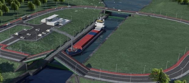 Wizualizacja projektowanego kanału przez Mierzeję Wiślaną. (Źródło: mgm.gov.pl)
