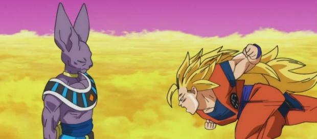 Batalla en el planeta de Kaiosama con Gokú y el Dios de la destrucción