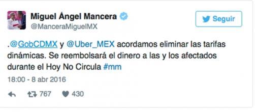 Foto del twitter de Miguel Ángel Mancera