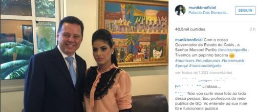 Munik com o Governador (Reprodução/Instagram)