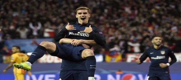 Griezmann comemorando seu primeiro gol feito na partida.