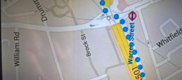 mapka z telefonu, wycieczka po Londynie