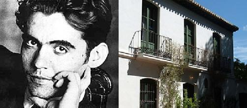 Retrato de García Lorca y fotografía de la Huerta de San Vicente
