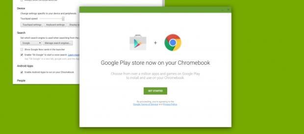 Captura de tela mostra a Play Store chegando no Chrome OS