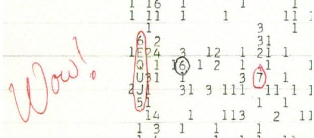 Il famoso 'wow' che indicava l'anomalia del segnale.