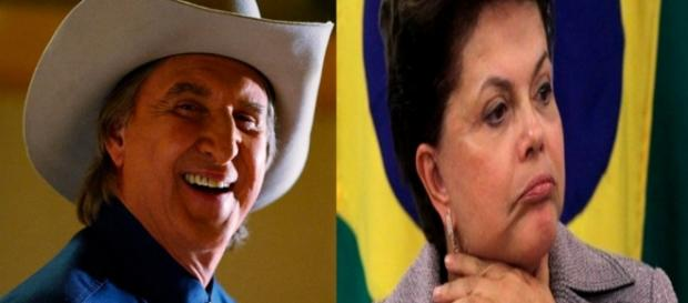 Sérgio Reis e Dilma - Foto/Montagem