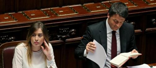 Matteo Renzi con il ministro Maria Elena Boschi