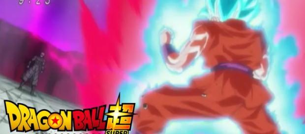 Goku en su combate con Hit con su nueva tecnica