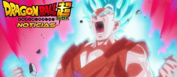 Goku utilizando el Kaio Ken con el super saiyajin Blue