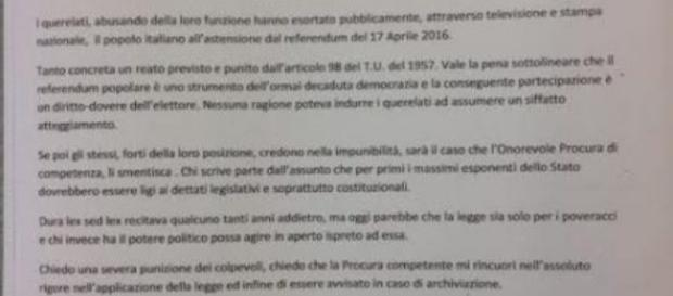 La denuncia querela contro Renzi e Napolitano