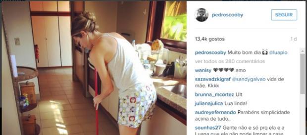 Luana Piovani arruma casa, é fotografada pelo marido e imagem faz sucesso nas redes sociais
