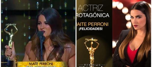 Maite Perroni recebendo o troféu.