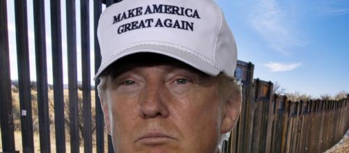 Montagem satírica de Trump com uma enorme cerca representando a possível muralha
