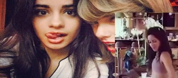 Camila ensinas meninas a dançar enquanto Taylor filma