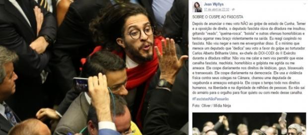 Jean Wyllys se defendeu, mas imagens da cuspida mostraram outra versão