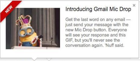 """Botão """"enviar com mic drop"""" causa confusão."""