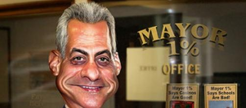 A caricature of Mayor Rahm Emanuel (by DonkeyHotey free Flickr photos)