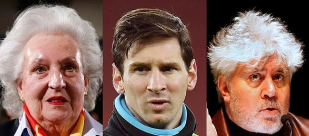 Leo Messi, Pedro Almodovar y Doña Pilar de Borbón