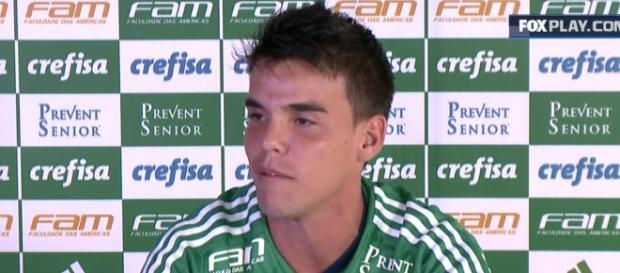 Rodrigo, em sua apresentação no Palmeiras.