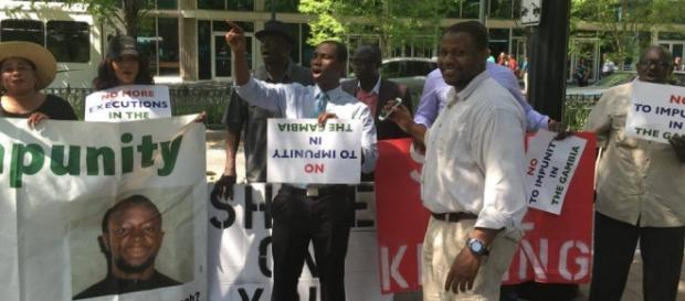 Gambians protesting in Atlanta / Photo via SMBC News