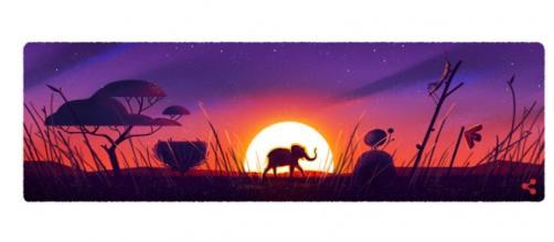 Um dos doodles do Google traz um elefante acompanhado do pôr do sol.