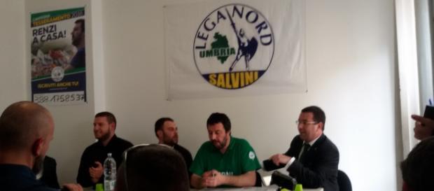 Salvini a Terni in occasione dell'inaugurazione della nuova sede Lega Nord Umbria.