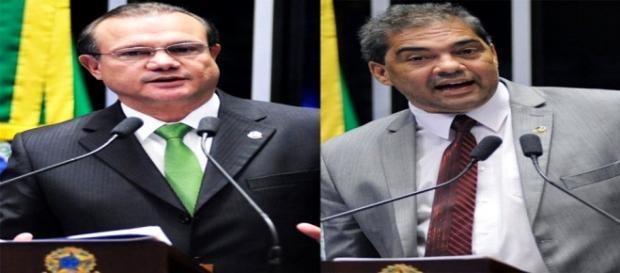 Os senadores Wellington Fagundes e Hélio José