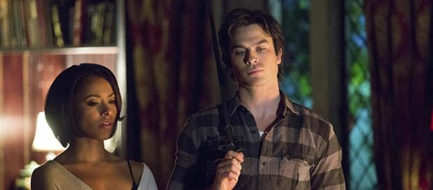 Bonnie (Kat Graham) and Damon (Ian Somerhalder)